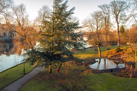 arial view: Pretty arial view of a pond in Perth Scotland