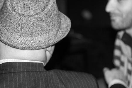 hoodlum: Shot of a man in a gangster hat Stock Photo