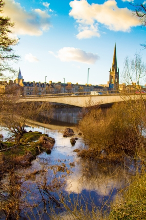 tay: Afternoon sun on the River Tay in Perth Scotland Stock Photo