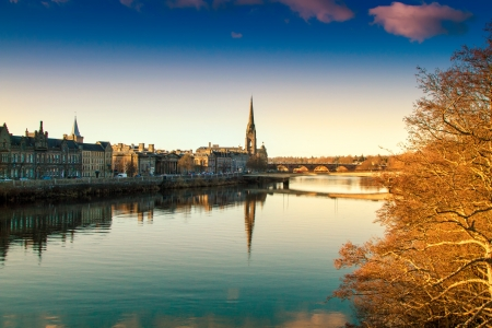 View of the River Tay in Perth Scotland Stock Photo