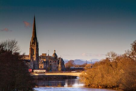tay: A shot of a Church on the River Tay in Perth Scotland