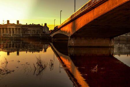 tay: A beautiful sunset on bridge in Perth Scotland