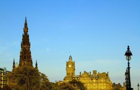 waverley: A shot of the Scots Monument in Edinburgh Scotland Stock Photo