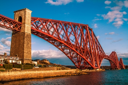 A shot of the Forth Rail bridge on a Sunny day in Scotland