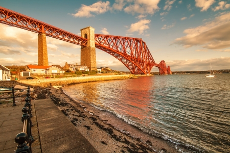 A shot of the Forth Rail bridge on a Sunny day in Scotland photo