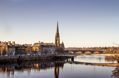 Sunset over the River Tay in Perth Scotland photo