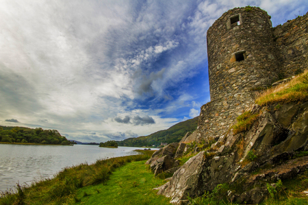 A shot of Kilchurn Castle from the side photo