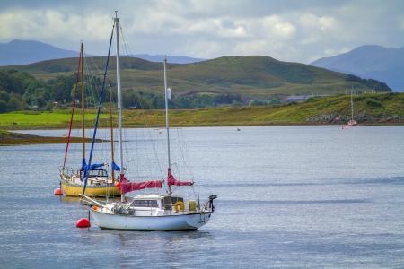 scotish: shot of a Yacht on a Scotish Loch Stock Photo