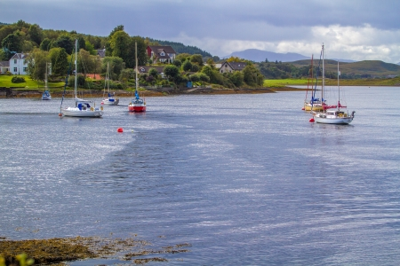 scotish: Yachts at Dawn on a Scotish Loch Stock Photo
