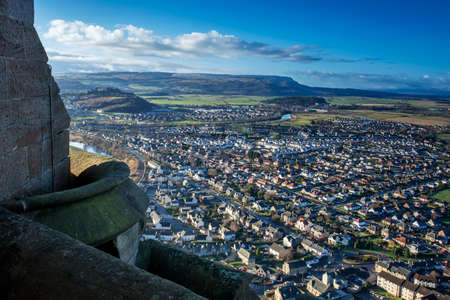 wallace: Shot of Stirling from Wallace Monument in Scotland Stock Photo