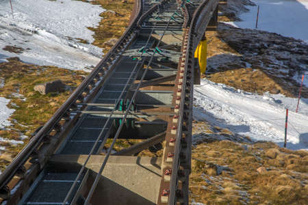 railway track: Close shot of Funicular railway track