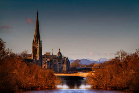 tay: Church on the River Tay Stock Photo