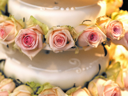 close shot: Close shot of a fance wedding cake with roses