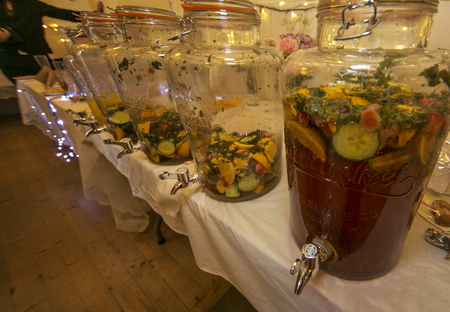 refreshments: Jugs filled with wedding reception refreshments Stock Photo