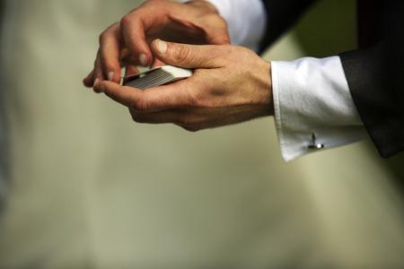 Close up shot of a card trick Stock Photo