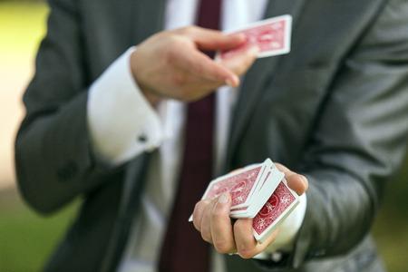 Shot of a magician card trick