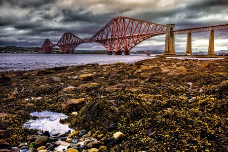 forth: Dramatic view of the Forth Road Bridge Stock Photo