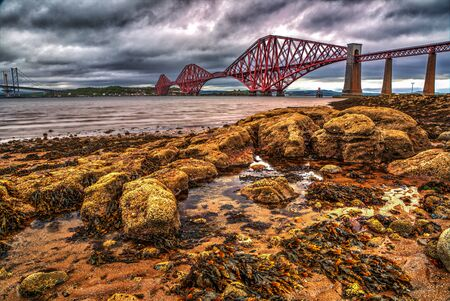 forth: View of the Forth Road Bridge Stock Photo