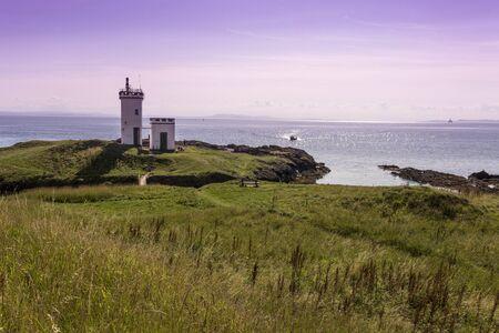 suny: Elie Lighthouse in Fife Scotland on a suny day