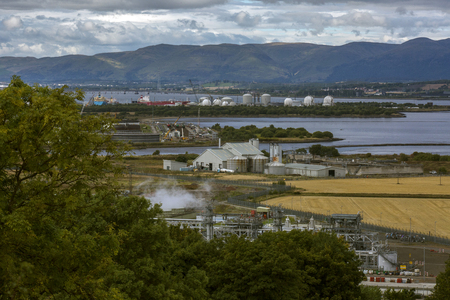 arial: Arial shot of the river Forth oil refinery Stock Photo