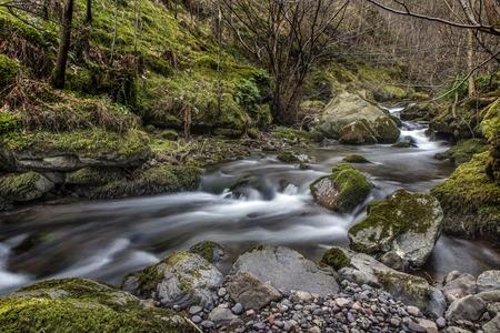 wide  wet: Shot of a Flowing River in Alva Glen, Scotland