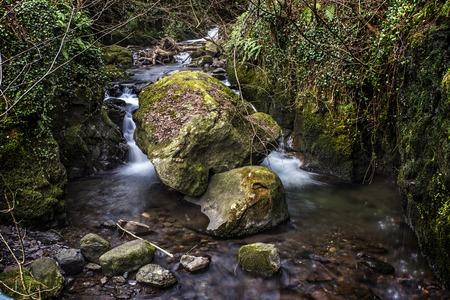 Shot of a rocky River in Alva Glen Scotland