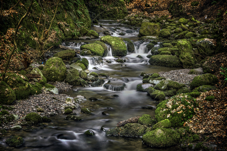 wide  wet: Shot of a dramatic River, Alva Glen Scotland