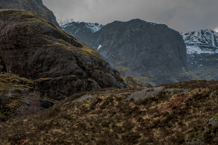 Close shot of Glencoe mountain in Scotland