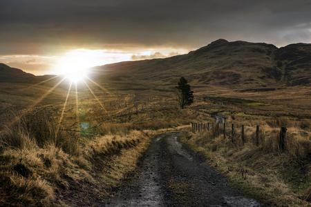 Path to a sunrise Stock Photo