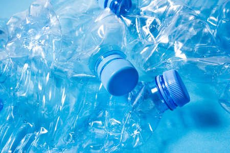 Crumpled plastic bottles of mineral water. Plastic waste