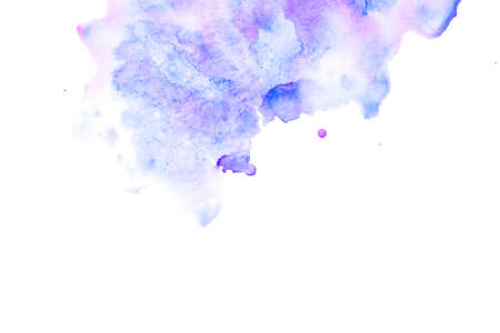 Abstract watercolor background with blue and lilac stains. Copy space.