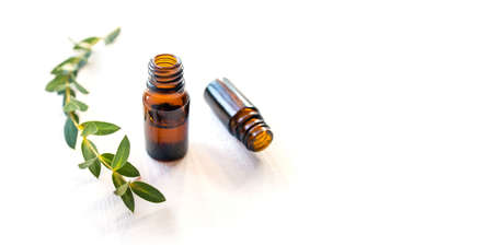 Dark glass bottles with essential oil. Natural remedy.
