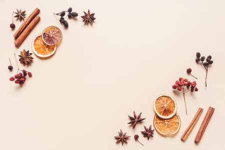 Autumn pastel background made of oranges, berries and spices. Flat lay, top view. Copy space for text. 免版税图像
