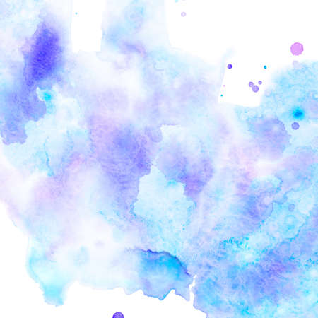 Abstract watercolor background with blue and lilac stains. Copy space. Reklamní fotografie