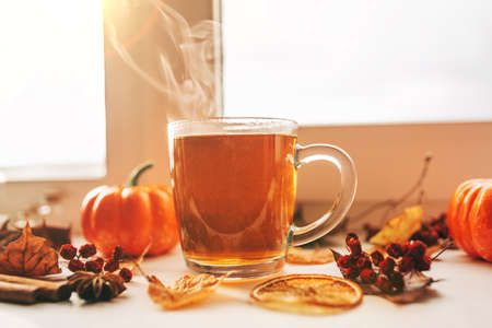 Hot steaming Cup of tea with autumn leaves, pumpkins and spices on the windowsill. Autumn mood.