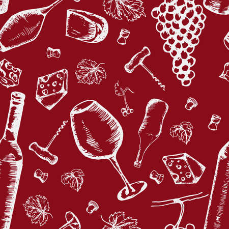 Wine seamless pattern. Vector texture in hand draw style Illustration
