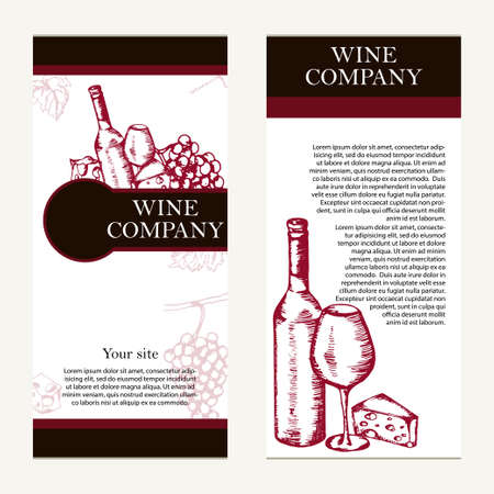retro party: Vector banners set of wine company. Retro card or flyer. Restaurant theme. Vector illustration.