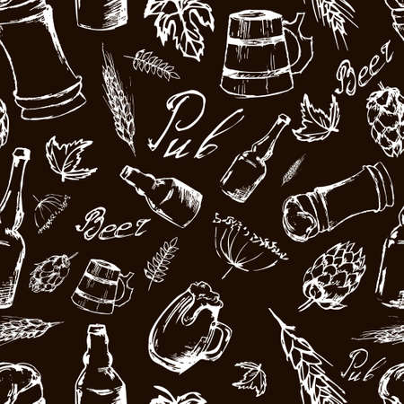 irish pub label design: Beer seamless pattern on black backgroun. Vector texture in hand draw style