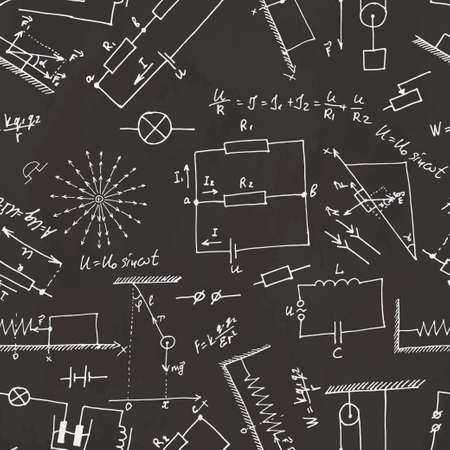 Seamless pattern on school board. Freehand drawing. Physics elements