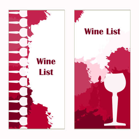 wine card: Set of banners for restaurant. Abstract background. Wine card, list, glass. Vector elements