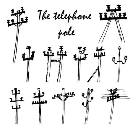 mains: Vector set of telefone poles. Hand drawn Illustration