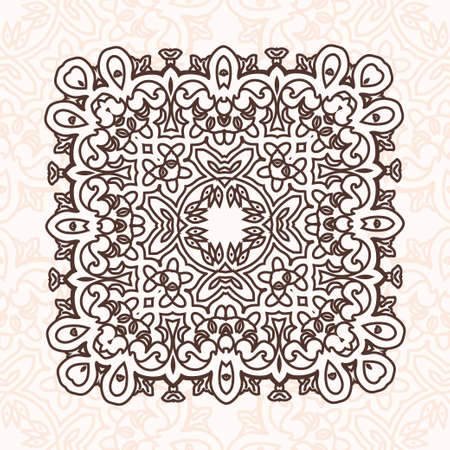 scroll tracery: Abstract design element. Round Ornament Pattern