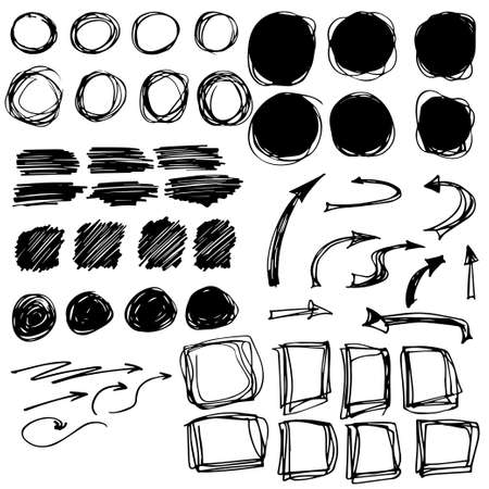 Set of black grunge brush strokes. Vector collection. Hand drawn stains, circles, squares