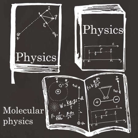 physics: Set of physics textbook, workbook on school board. Freehand drawing. Physics elements
