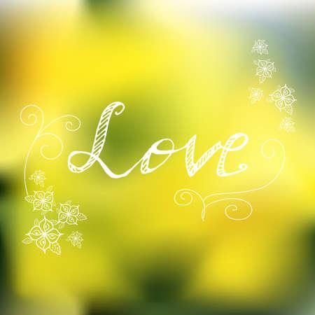 hand lettered: Natur spring background. Hand lettered style design. Vector illustration Illustration