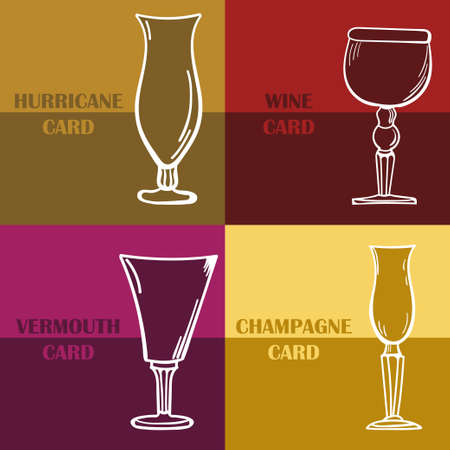 wine card: Template of a wine card. Design in 4 colors and wineglasses