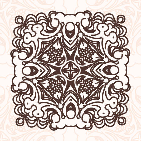 scroll tracery: Abstract design element. Square mandala in vector. Graphic template for your design. Illustration