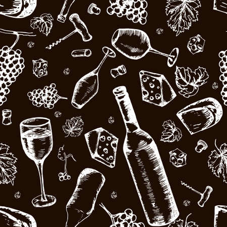 Wine seamless pattern. Vector texture in hand draw style Vectores