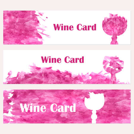 wine background: Set of banners for restaurant. Abstract background. Wine card, list, glass. Vector elements