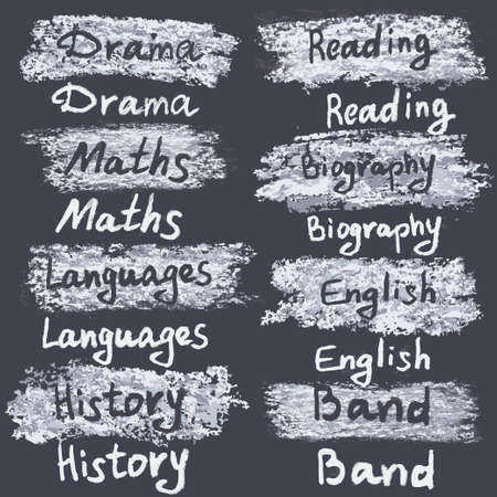 secondary school: Hand drawn names of subjects at the secondary school. Chalk on the blackboard. Vector white inscriptions.